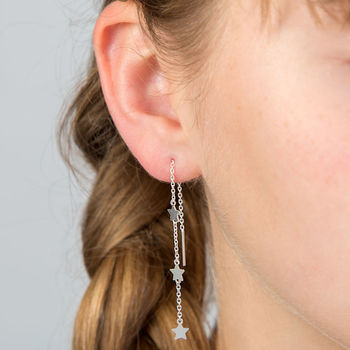 Hanging Stars Sterling Silver Threader Earrings