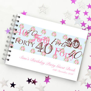 Personalised 40th Birthday Guest Book