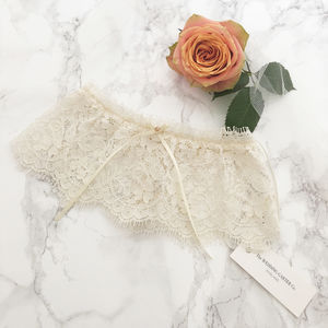 Nude Lace Wedding Garter With Rose Gold Stone - bridal garters
