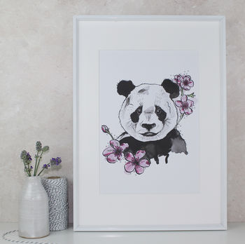 Panda And Blossom Art Print