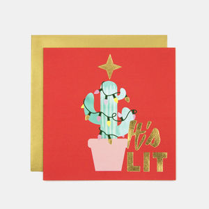 It's Lit Cactus Tree Christmas Greeting Card - cards