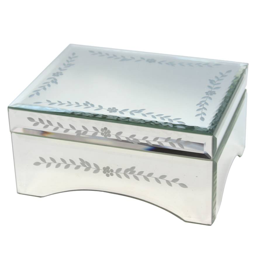 Mirrored glass jewellery box by the contemporary home for Mirror jewellery box