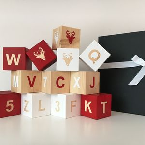 Christmas Wooden Alphabet Play Cubes Gift Box - family christmas collection