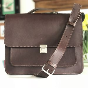 Leather Satchel With Clip