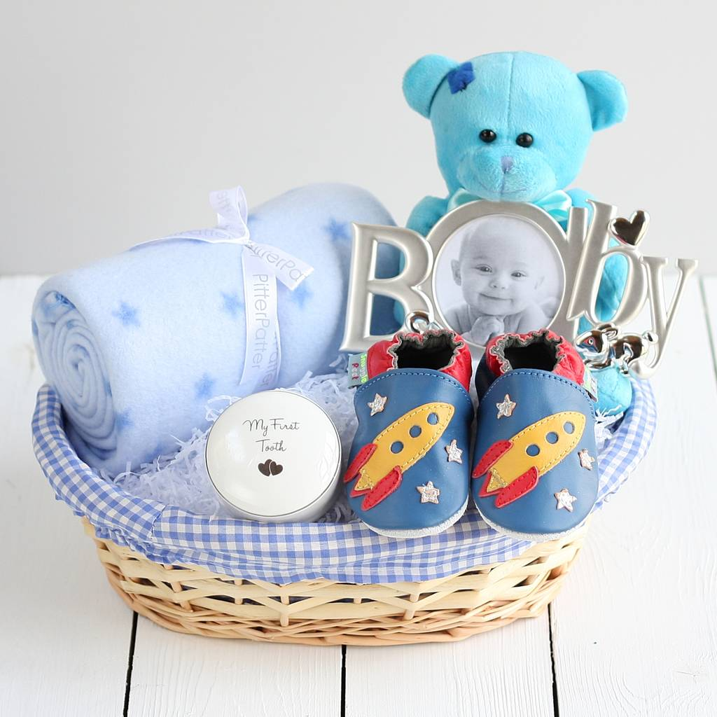 Baby Boy Gifts South Africa : Deluxe boy new baby gift basket by snuggle feet