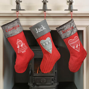Personalised Nordic Cable Knit Christmas Stocking