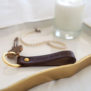 Personalised Leather Loop Keyring - gifts for fathers