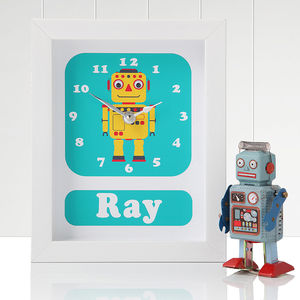 Personalised Framed Robot Clocks - gifts for babies