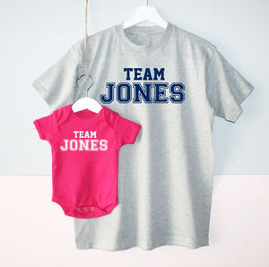 'Team Surname' Father And Baby T Shirt Set