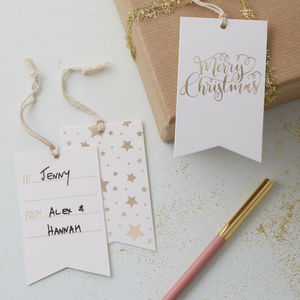 Gold Foiled Merry Christmas Gift Present Tags - christmas labels & tags