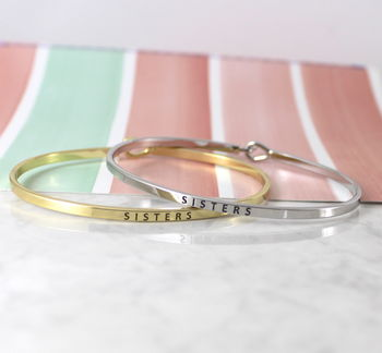 Engraved Message Sister Gift Cuff Bracelet