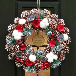 Personalised Preserved Cotton Roses Christmas Wreath