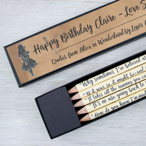 Personalised Alice In Wonderland Pencil Set