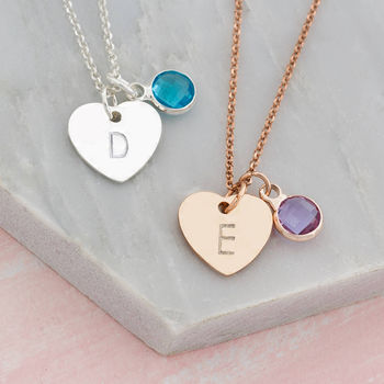 Personalised Heart And Birthstone Pendant Necklace