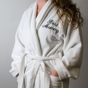 Luxury Embroidered Velour Cotton White Bathrobe d91fa8305