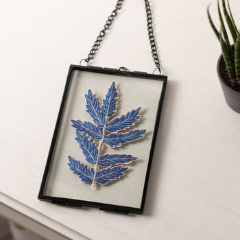 Embroidered Blue Fern Leaf Framed Art