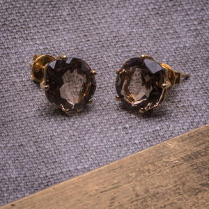 18ct Yellow Gold Vermeil And Smoky Quartz Stud Earrings - gifts for her