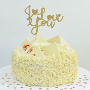I Love You Romantic Glitter Cake Topper - cake toppers & decorations