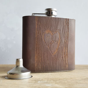 Love Heart Tree Carving Hip Flask - 3rd anniversary: leather