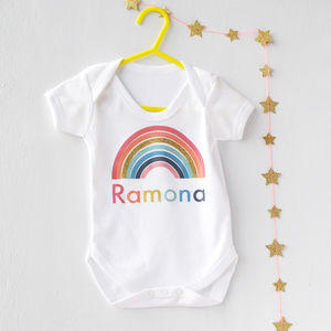 Personalised Glitter Rainbow Baby Vest
