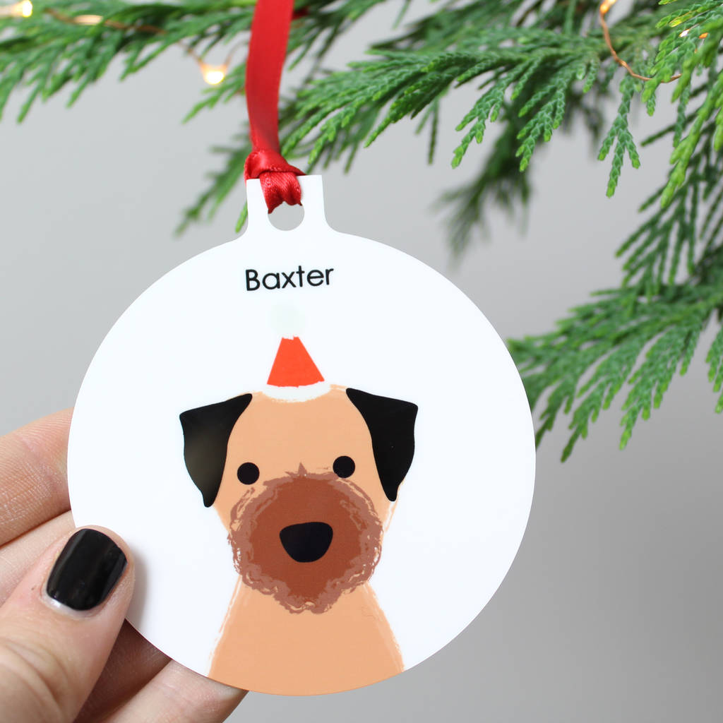 0940f510 personalised christmas dog, metal bauble by heather alstead design ...