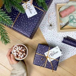 'I Believe' Christmas Stars Navy Wrapping Paper Set - christmas wrapping paper