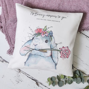 Watercolour Bunny Personalised Cushion Cover - new in home