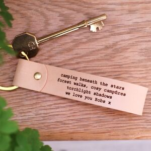Personalised Engraved Real Leather Keyring Gift