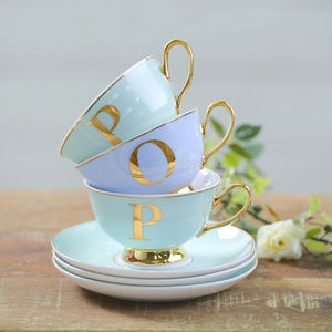 Monogram China Cup And Saucer - cups & saucers