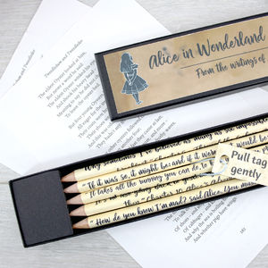 Alice In Wonderland Quote Pencils