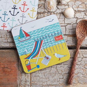 Beach Scene Melamine Coaster - new in home