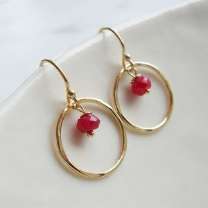 Ruby Gold Circle Earrings - new in jewellery