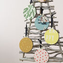 Fabric Wooden Baubles Set Of Six