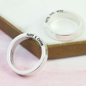 Personalised Bold Sterling Silver Band Ring - rings