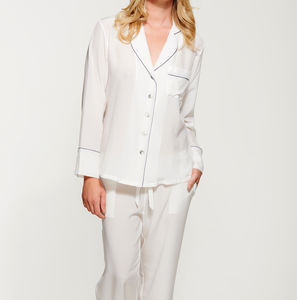 Women's Silk Crepe De Chine Long Pyjama Set - women's fashion