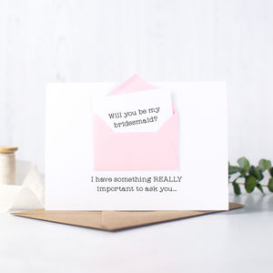 Secret Message 'Will You Be My Bridesmaid?' Card - christening invitations