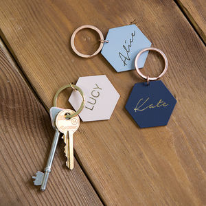 Powder Coated Hexagon Keyring - stocking fillers
