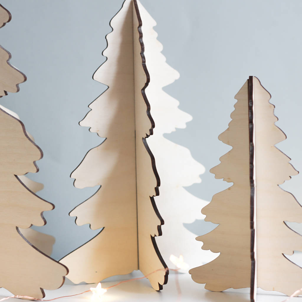 Set Of Three Alternative Wooden Christmas Trees By Fira Studio