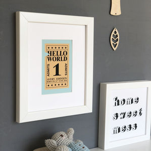 Personalised 'Hello World' Ticket Art Print - pictures & prints for children