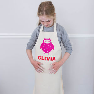 Personalised Kids Apron Owl Print - aprons