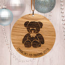 Personalised Wooden Bear Baby's First Christmas
