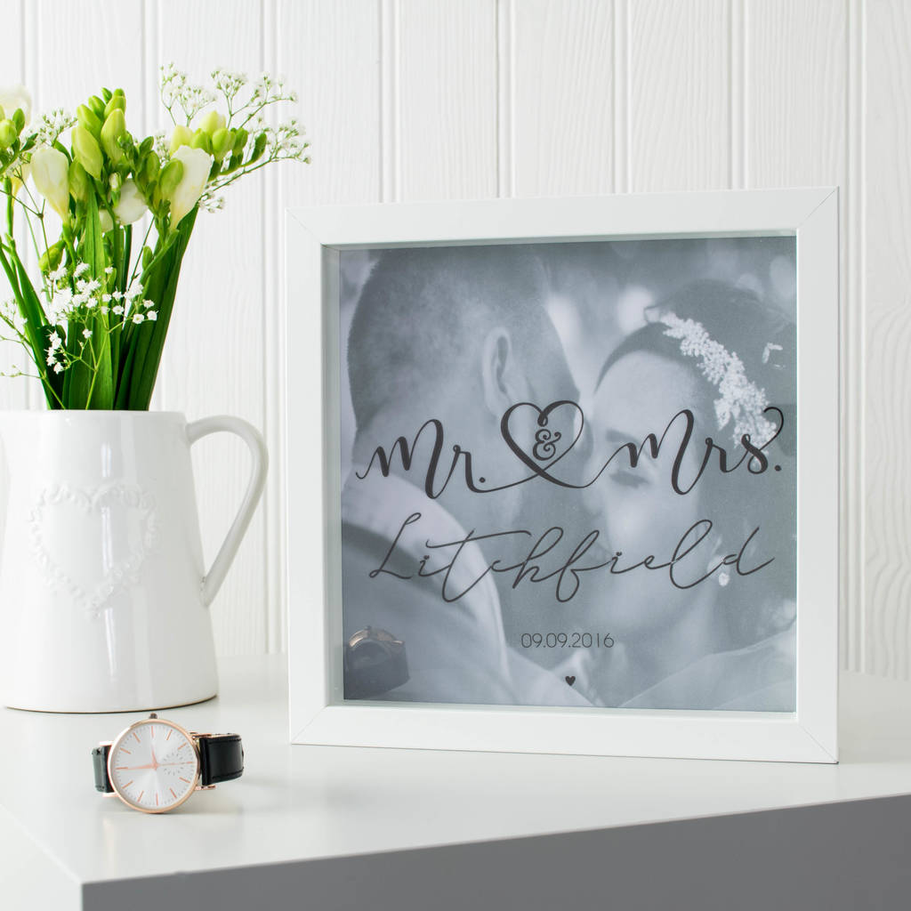 Mr And Mrs First Anniversary Wedding Day Box Frame By Baby Yorke