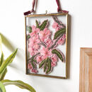 Spring Blossom Pink Embroidery Art Brass Frame