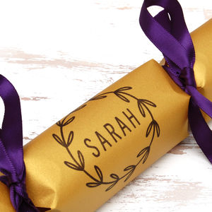 Six Personalised Simple Wreath Crackers - new in christmas
