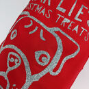 Personalised Dog Christmas Gift Sack - boxer close up of glitter