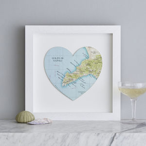Personalised Location Sorrento Map Heart Print