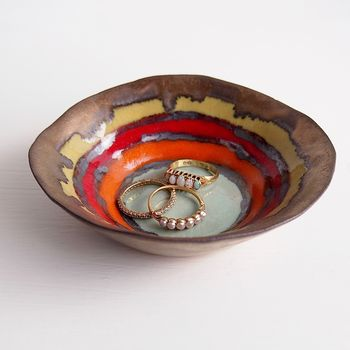 Handmade Ceramic Gold Multicolour Sunset Ring Dish