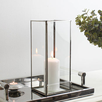 Rectangle Silver Plated Glass Candle Holder