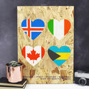 Personalised Flag Hearts Print