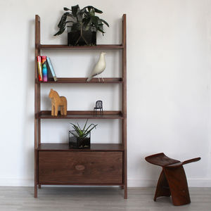 Lilli Handmade Walnut Bookcase - shelves